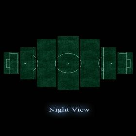 Canvas Wall Art Football field, Glowing in the dark, Set of 7, 100 x 240 cm (1 panel 40 x 100 cm, 2 panels 35 x 90 cm, 2 panels 30 x 60 cm, 2 panels 30 x 40 cm)