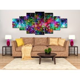 Set Tablou Abstract multicolor, 7 piese, luminos in intuneric, 100 x 240 cm (1 piesa 40 x 100 cm, 2 piese 35 x 90 cm, 2 piese 30 x 60 cm, 2 piese 30 x 40 cm)