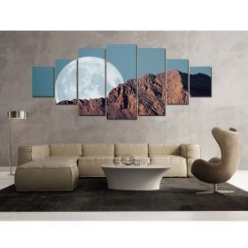 Canvas Wall Art Full moon behind the mountains, Glowing in the dark, Set of 7, 100 x 240 cm (1 panel 40 x 100 cm, 2 panels 35 x 90 cm, 2 panels 30 x 60 cm, 2 panels 30 x 40 cm)
