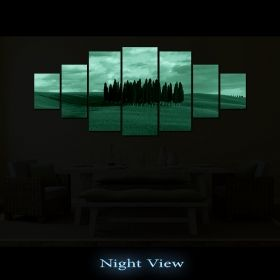 Canvas Wall Art Group of trees, Glowing in the dark, Set of 7, 100 x 240 cm (1 panel 40 x 100 cm, 2 panels 35 x 90 cm, 2 panels 30 x 60 cm, 2 panels 30 x 40 cm)