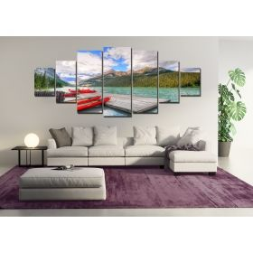 Canvas Wall Art Canoe, Glowing in the dark, Set of 7, 100 x 240 cm (1 panel 40 x 100 cm, 2 panels 35 x 90 cm, 2 panels 30 x 60 cm, 2 panels 30 x 40 cm)