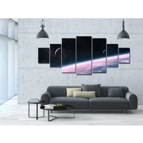 Canvas Wall Art Purple universe, Glowing in the dark, Set of 7, 100 x 240 cm (1 panel 40 x 100 cm, 2 panels 35 x 90 cm, 2 panels 30 x 60 cm, 2 panels 30 x 40 cm)