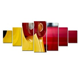 Canvas Wall Art Taillights, Glowing in the dark, Set of 7, 100 x 240 cm (1 panel 40 x 100 cm, 2 panels 35 x 90 cm, 2 panels 30 x 60 cm, 2 panels 30 x 40 cm)