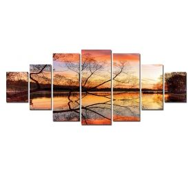 Canvas Wall Art Tree branches, Glowing in the dark, Set of 7, 100 x 240 cm (1 panel 40 x 100 cm, 2 panels 35 x 90 cm, 2 panels 30 x 60 cm, 2 panels 30 x 40 cm)