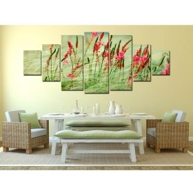 Canvas Wall Art Colorful green, Glowing in the dark, Set of 7, 100 x 240 cm (1 panel 40 x 100 cm, 2 panels 35 x 90 cm, 2 panels 30 x 60 cm, 2 panels 30 x 40 cm)