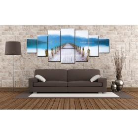 Canvas Wall Art Pontoon, Glowing in the dark, Set of 7, 100 x 240 cm (1 panel 40 x 100 cm, 2 panels 35 x 90 cm, 2 panels 30 x 60 cm, 2 panels 30 x 40 cm)
