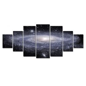 Canvas Wall Art Spiral Galaxy, Glowing in the dark, Set of 7, 100 x 240 cm (1 panel 40 x 100 cm, 2 panels 35 x 90 cm, 2 panels 30 x 60 cm, 2 panels 30 x 40 cm)