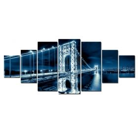 Canvas Wall Art Blue bridge, Glowing in the dark, Set of 7, 100 x 240 cm (1 panel 40 x 100 cm, 2 panels 35 x 90 cm, 2 panels 30 x 60 cm, 2 panels 30 x 40 cm)