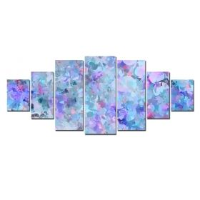 Canvas Wall Art Pastelate Abstract, Glowing in the dark, Set of 7, 100 x 240 cm (1 panel 40 x 100 cm, 2 panels 35 x 90 cm, 2 panels 30 x 60 cm, 2 panels 30 x 40 cm)