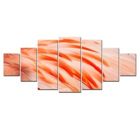 Canvas Wall Art Flamingo feathers, Glowing in the dark, Set of 7, 100 x 240 cm (1 panel 40 x 100 cm, 2 panels 35 x 90 cm, 2 panels 30 x 60 cm, 2 panels 30 x 40 cm)