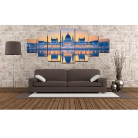 Canvas Wall Art The Mirrored Palace, Glowing in the dark, Set of 7, 100 x 240 cm (1 panel 40 x 100 cm, 2 panels 35 x 90 cm, 2 panels 30 x 60 cm, 2 panels 30 x 40 cm)