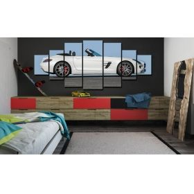 Canvas Wall Art White sports car, Glowing in the dark, Set of 7, 100 x 240 cm (1 panel 40 x 100 cm, 2 panels 35 x 90 cm, 2 panels 30 x 60 cm, 2 panels 30 x 40 cm)