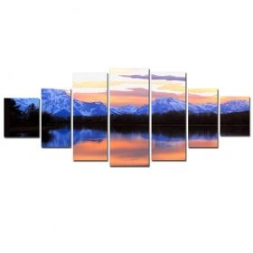 Canvas Wall Art Sunset in the mountains, Glowing in the dark, Set of 7, 100 x 240 cm (1 panel 40 x 100 cm, 2 panels 35 x 90 cm, 2 panels 30 x 60 cm, 2 panels 30 x 40 cm)