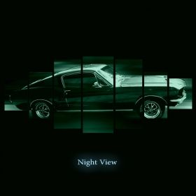 Canvas Wall Art Ford Mustang, Glowing in the dark, Set of 7, 100 x 240 cm (1 panel 40 x 100 cm, 2 panels 35 x 90 cm, 2 panels 30 x 60 cm, 2 panels 30 x 40 cm)