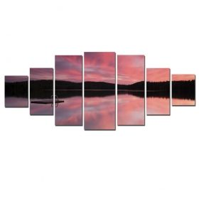 Canvas Wall Art Pink over the lake, Glowing in the dark, Set of 7, 100 x 240 cm (1 panel 40 x 100 cm, 2 panels 35 x 90 cm, 2 panels 30 x 60 cm, 2 panels 30 x 40 cm)