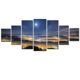 Canvas Wall Art The moon over Los Angeles, Glowing in the dark, Set of 7, 100 x 240 cm (1 panel 40 x 100 cm, 2 panels 35 x 90 cm, 2 panels 30 x 60 cm, 2 panels 30 x 40 cm)