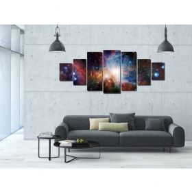 Canvas Wall Art Incredible space, Glowing in the dark, Set of 7, 100 x 240 cm (1 panel 40 x 100 cm, 2 panels 35 x 90 cm, 2 panels 30 x 60 cm, 2 panels 30 x 40 cm)