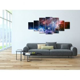 Canvas Wall Art Cosmic space, Glowing in the dark, Set of 7, 100 x 240 cm (1 panel 40 x 100 cm, 2 panels 35 x 90 cm, 2 panels 30 x 60 cm, 2 panels 30 x 40 cm)