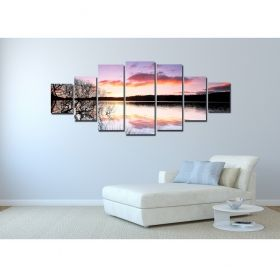 Canvas Wall Art Sunset over the lake, Glowing in the dark, Set of 7, 100 x 240 cm (1 panel 40 x 100 cm, 2 panels 35 x 90 cm, 2 panels 30 x 60 cm, 2 panels 30 x 40 cm)