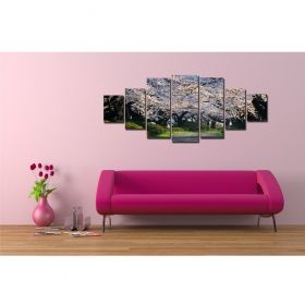 Canvas Wall Art Spring flowers, Glowing in the dark, Set of 7, 100 x 240 cm (1 panel 40 x 100 cm, 2 panels 35 x 90 cm, 2 panels 30 x 60 cm, 2 panels 30 x 40 cm)