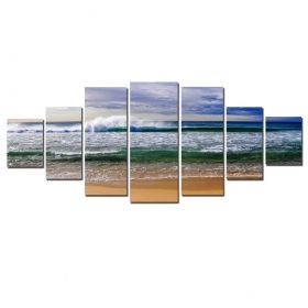 Canvas Wall Art Ocean waves, Glowing in the dark, Set of 7, 100 x 240 cm (1 panel 40 x 100 cm, 2 panels 35 x 90 cm, 2 panels 30 x 60 cm, 2 panels 30 x 40 cm)