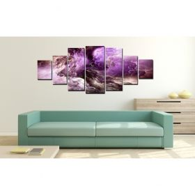 Set Tablou Violet abstract, 7 piese, luminos in intuneric, 100 x 240 cm (1 piesa 40 x 100 cm, 2 piese 35 x 90 cm, 2 piese 30 x 60 cm, 2 piese 30 x 40 cm)