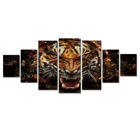 Canvas Wall Art Strong tiger, Glowing in the dark, Set of 7, 100 x 240 cm (1 panel 40 x 100 cm, 2 panels 35 x 90 cm, 2 panels 30 x 60 cm, 2 panels 30 x 40 cm)