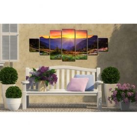 Canvas Wall Art The sunset after the mountains, Glowing in the dark, Set of 7, 100 x 240 cm (1 panel 40 x 100 cm, 2 panels 35 x 90 cm, 2 panels 30 x 60 cm, 2 panels 30 x 40 cm)
