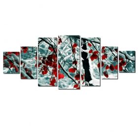 Canvas Wall Art Red leaves in the snow, Glowing in the dark, Set of 7, 100 x 240 cm (1 panel 40 x 100 cm, 2 panels 35 x 90 cm, 2 panels 30 x 60 cm, 2 panels 30 x 40 cm)