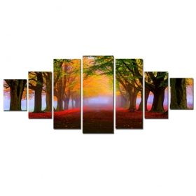 Canvas Wall Art Autumn Road, Glowing in the dark, Set of 7, 100 x 240 cm (1 panel 40 x 100 cm, 2 panels 35 x 90 cm, 2 panels 30 x 60 cm, 2 panels 30 x 40 cm)