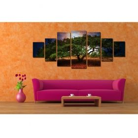 Canvas Wall Art Old tree, Glowing in the dark, Set of 7, 100 x 240 cm (1 panel 40 x 100 cm, 2 panels 35 x 90 cm, 2 panels 30 x 60 cm, 2 panels 30 x 40 cm)