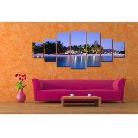 Canvas Wall Art Romantic beach, Glowing in the dark, Set of 7, 100 x 240 cm (1 panel 40 x 100 cm, 2 panels 35 x 90 cm, 2 panels 30 x 60 cm, 2 panels 30 x 40 cm)