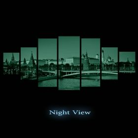 Canvas Wall Art Kremlin, Glowing in the dark, Set of 7, 100 x 240 cm (1 panel 40 x 100 cm, 2 panels 35 x 90 cm, 2 panels 30 x 60 cm, 2 panels 30 x 40 cm)