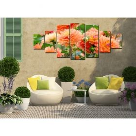 Canvas Wall Art Chrysanthemums, Glowing in the dark, Set of 7, 100 x 240 cm (1 panel 40 x 100 cm, 2 panels 35 x 90 cm, 2 panels 30 x 60 cm, 2 panels 30 x 40 cm)