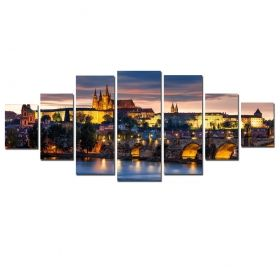 Canvas Wall Art Castle in Prague, Glowing in the dark, Set of 7, 100 x 240 cm (1 panel 40 x 100 cm, 2 panels 35 x 90 cm, 2 panels 30 x 60 cm, 2 panels 30 x 40 cm)