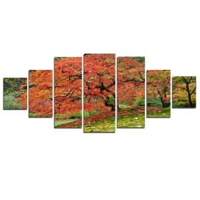 Canvas Wall Art Japanese maple, Glowing in the dark, Set of 7, 100 x 240 cm (1 panel 40 x 100 cm, 2 panels 35 x 90 cm, 2 panels 30 x 60 cm, 2 panels 30 x 40 cm)