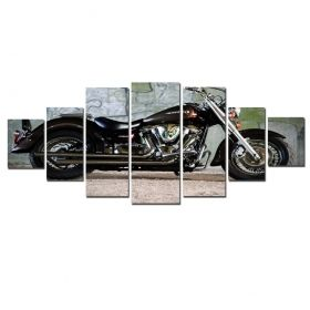 Canvas Wall Art Yamaha Motorcycle, Glowing in the dark, Set of 7, 100 x 240 cm (1 panel 40 x 100 cm, 2 panels 35 x 90 cm, 2 panels 30 x 60 cm, 2 panels 30 x 40 cm)
