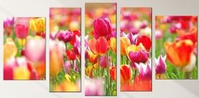Canvas Wall Art Tulips, Glowing in the dark, Set of 5, 90 x 180 cm (1 panel 30 x 90 cm, 2 panels 30 x 80 cm, 2 panels 40 x 60 cm)