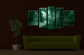 Canvas Wall Art In the forest, Glowing in the dark, Set of 5, 90 x 180 cm (1 panel 30 x 90 cm, 2 panels 30 x 80 cm, 2 panels 40 x 60 cm)