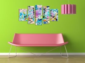 Canvas Wall Art Abstract colors, Glowing in the dark, Set of 5, 90 x 180 cm (1 panel 30 x 90 cm, 2 panels 30 x 80 cm, 2 panels 40 x 60 cm)