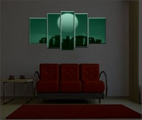 Canvas Wall Art Stonehenge, Glowing in the dark, Set of 5, 90 x 180 cm (1 panel 30 x 90 cm, 2 panels 30 x 80 cm, 2 panels 40 x 60 cm)