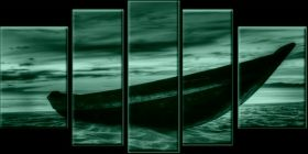 Canvas Wall Art The boat on the sand, Glowing in the dark, Set of 5, 90 x 180 cm (1 panel 30 x 90 cm, 2 panels 30 x 80 cm, 2 panels 40 x 60 cm)