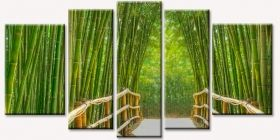 Canvas Wall Art Bamboo Alley, Glowing in the dark, Set of 5, 90 x 180 cm (1 panel 30 x 90 cm, 2 panels 30 x 80 cm, 2 panels 40 x 60 cm)