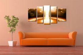 Canvas Wall Art Light, Glowing in the dark, Set of 5, 90 x 180 cm (1 panel 30 x 90 cm, 2 panels 30 x 80 cm, 2 panels 40 x 60 cm)