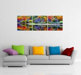 Canvas Wall Art The colors of the forest, Glowing in the dark, Set of 3, 60 x 180 cm (3 panels 60 x 60 cm)