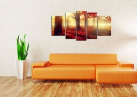 Canvas Wall Art Morning in the forest, Glowing in the dark, Set of 5, 90 x 180 cm (1 panel 30 x 90 cm, 2 panels 30 x 80 cm, 2 panels 40 x 60 cm)