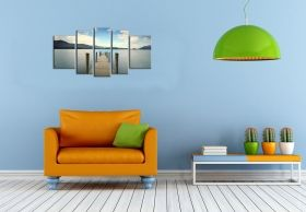 Canvas Wall Art Beach Bridge, Glowing in the dark, Set of 5, 90 x 180 cm (1 panel 30 x 90 cm, 2 panels 30 x 80 cm, 2 panels 40 x 60 cm)