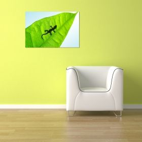 Glass Wall Art Green leaf, Glowing in the dark, 60 x 90 cm