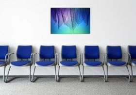 Glass Wall Art Colored leaves, Glowing in the dark, 60 x 90 cm