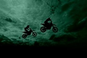 Glass Wall Art Motorcycles in flight, Glowing in the dark, 60 x 90 cm
